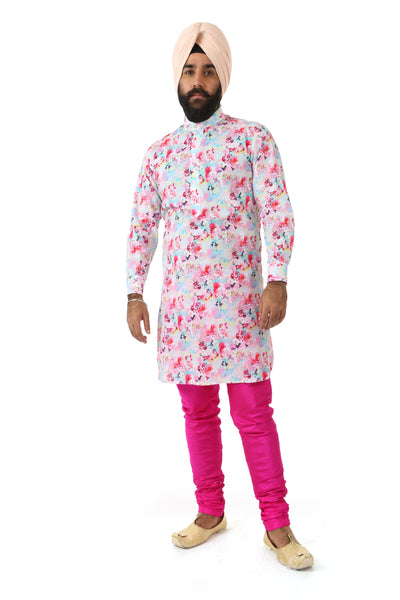 Harleen Kaur Mens JAG Pants in Fuchsia Silk - Front View