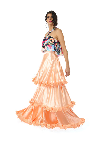 Harleen Kaur Layla Tiered Satin Skirt with Floral Trim - Peach Side View