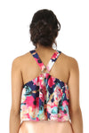 Harleen Kaur Manvi Floral Satin Halter Crop Top - Navy Back View