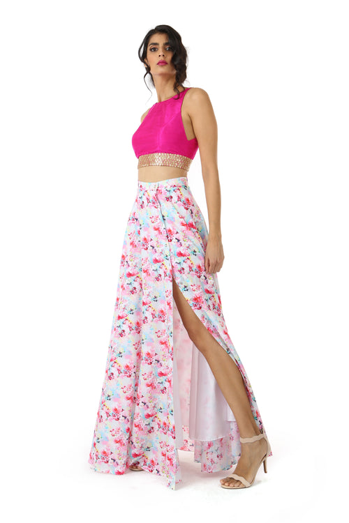 Harleen Kaur Julia Sleeveless Silk Fuchsia Crop Top - Side View