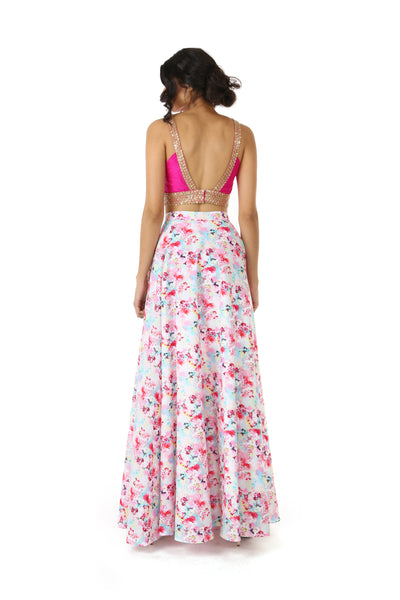 Harleen Kaur Julia Sleeveless Silk Fuchsia Open Back Crop Top with Mini Gold Sequin Flowers - Back View