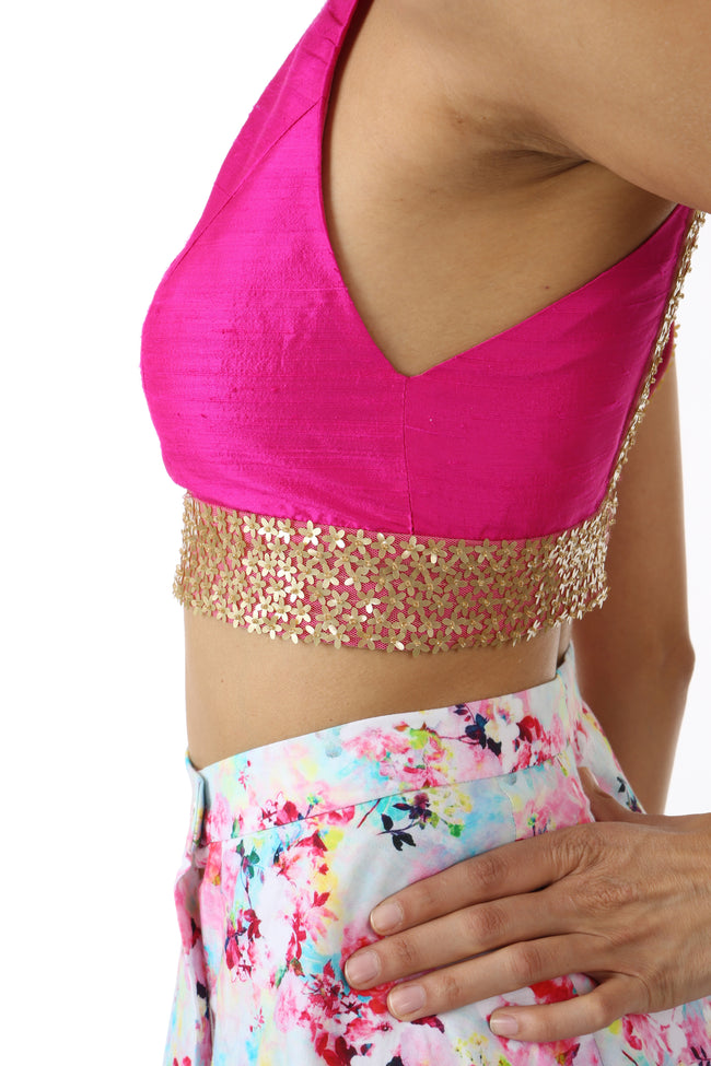 Harleen Kaur Julia Sleeveless Silk Fuchsia Crop Top with Mini Sequin Flowers on Trim - Side View