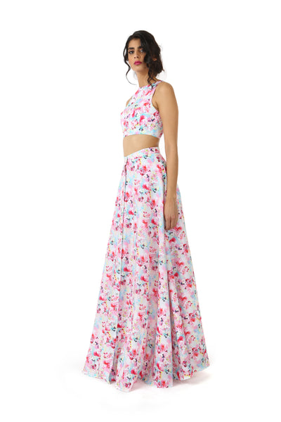 Harleen Kaur Azya Cotton Floral Print Sleeveless Crop Top in White Multi - Side View