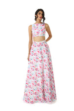 Harleen Kaur Azya Sleeveless Crop Top in White Multi Floral Print - Front View