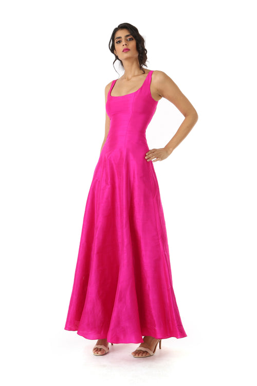 Harleen Kaur Mansi Fuchsia Silk Dress with Open Back and Scoopneck - Front View