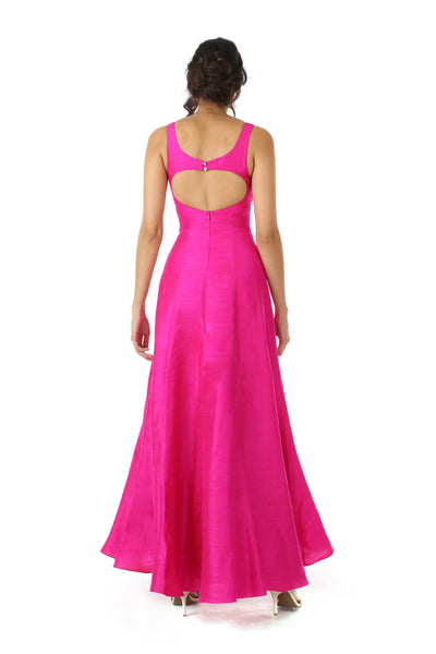 Harleen Kaur Mansi Fuchsia Silk Dress with Heart Shaped Open Back - Back View
