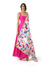 Harleen Kaur GINA Floral Print Dupatta in Teal Multi with Fuchsia Anarkali Dress