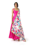 Harleen Kaur Mansi Fuchsia Silk Dress with Scoop Neck - Front View