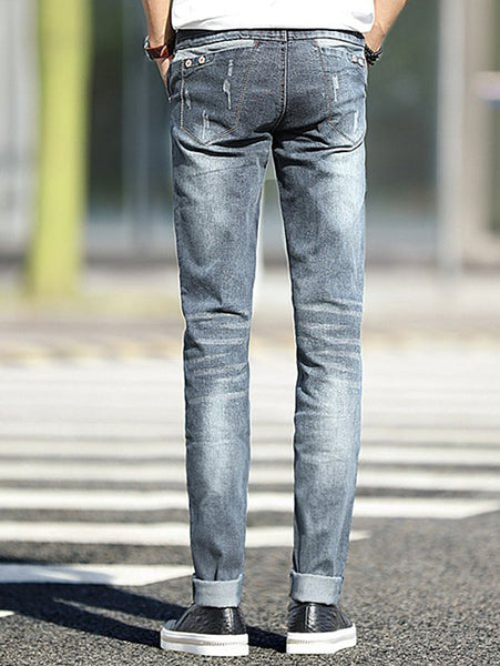 Frayed Design Mid-Wash Slim Fit Jeans For Men - Beyond Fashion by Larissa's