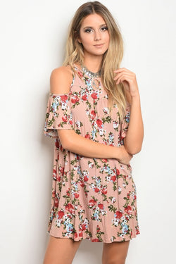 Dusty Pink Floral Dress Spocket
