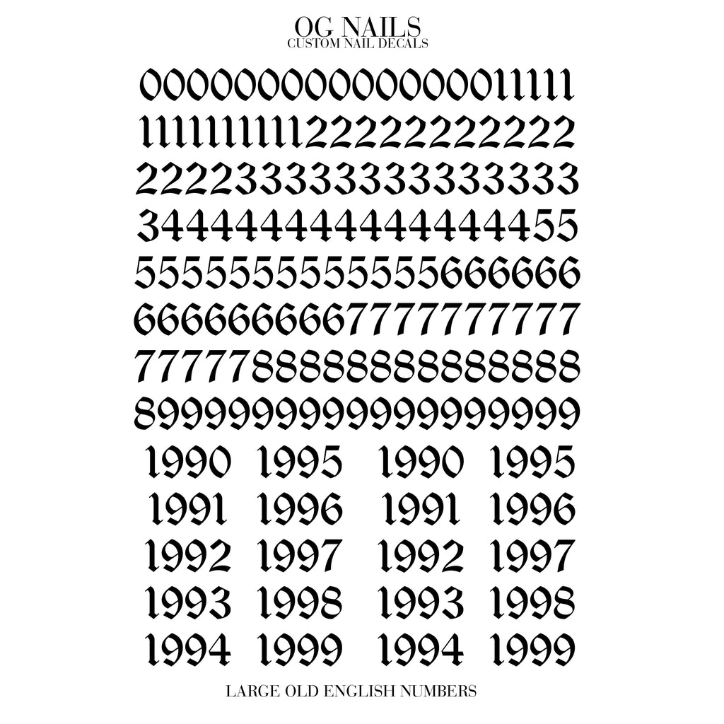 OLD ENGLISH NUMBERS - LARGE