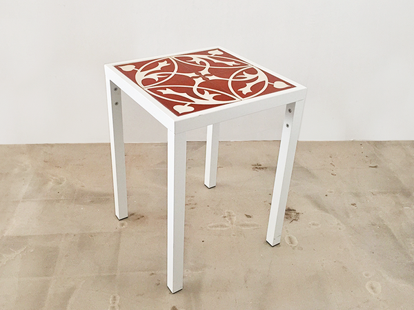 Side Table (Oval Rosso Tile)