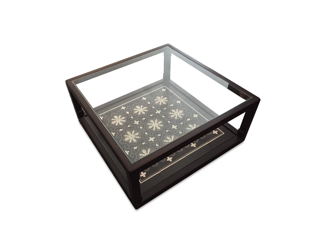 Coffee Table with Glass Top and Peranakan Tile Base