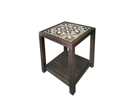 Wooden Side Table with Slatted Shelf (Peranakan Black Tile)