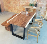 Solid Suar Wood Square Cut Dining Table