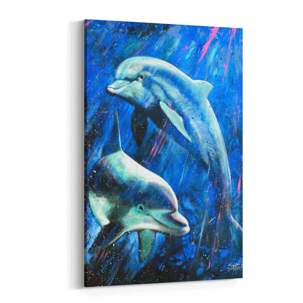A Life Aquatic Dolphins by Stephen Fishwick Canvas Art