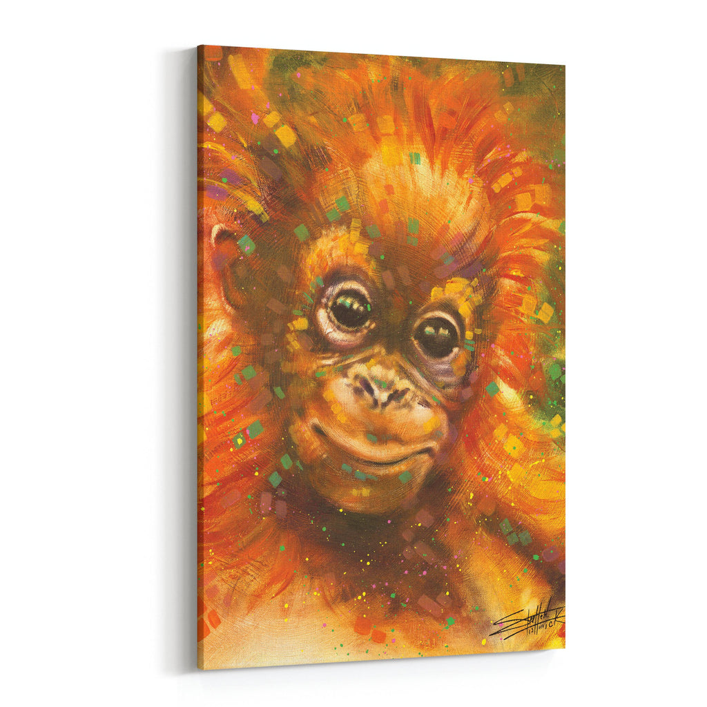 Baby Orangutan by Stephen Fishwick Canvas Art