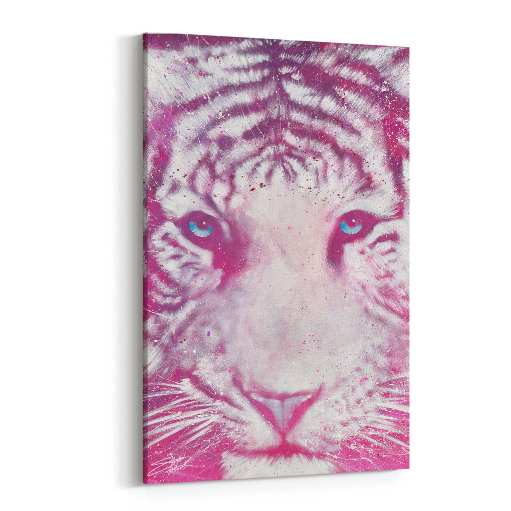 Cat of the Cosmos Pink Tiger by Stephen Fishwick Canvas Art