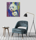 Canvas Close in Color Pandas by Stephen Fishwick Canvas Art