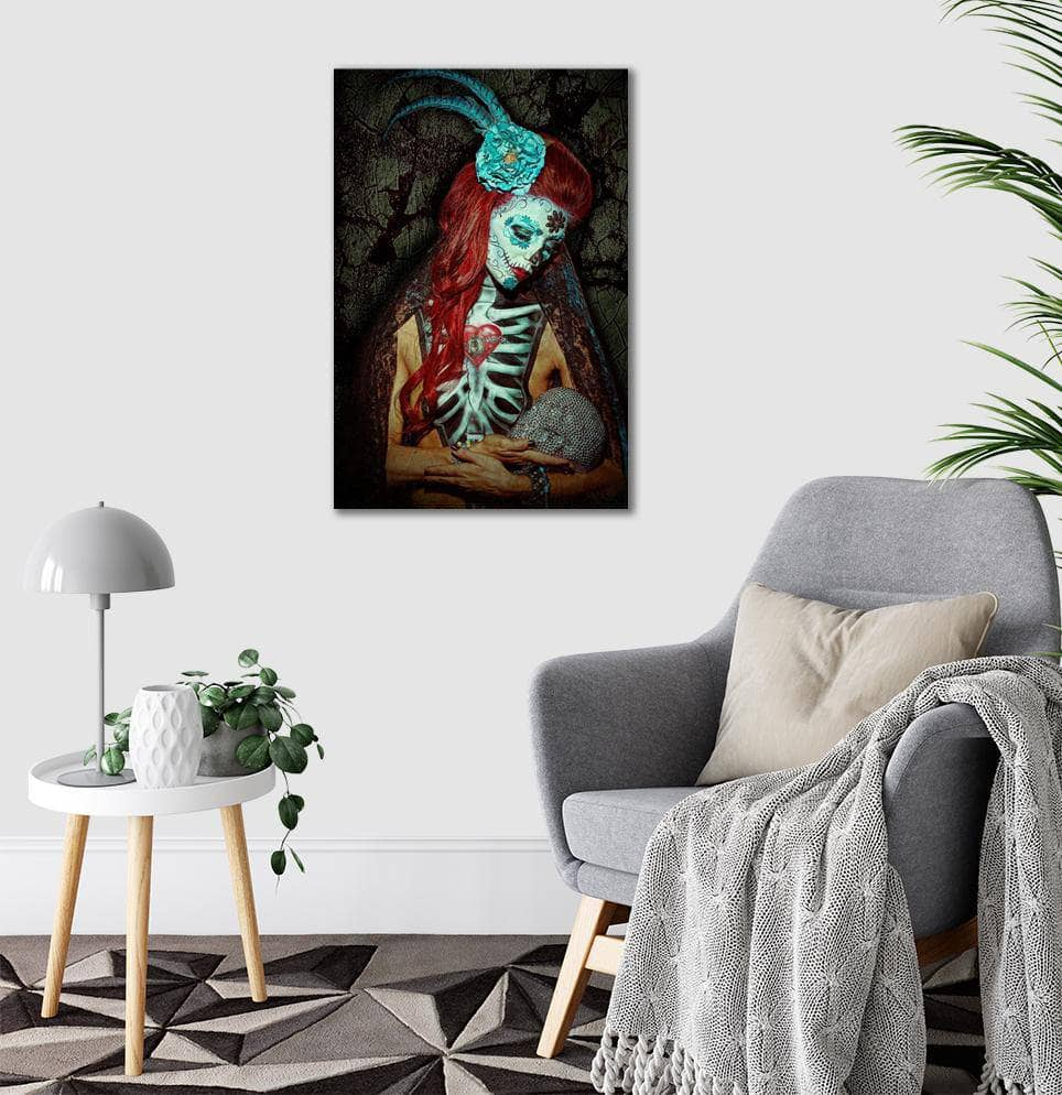 Canvas Day of the Dead Craneo de Diamantes By Daveed Benito Canvas Art