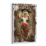 El Mariachi de la Muerto  Canvas Print  By Daveed Benito Canvas Art