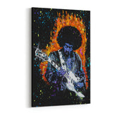 Jimi Hendrix On Fire by Stephen Fishwick Canvas Art
