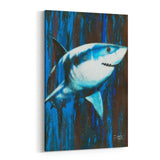 Silent Killer Great White Shark by Stephen Fishwick Canvas Art