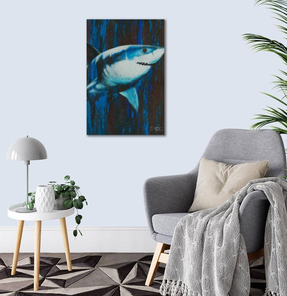 Canvas Silent Killer Great White Shark by Stephen Fishwick Canvas Art