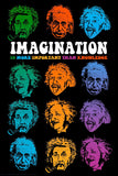 Einstein Faces of Imagination Paper Poster