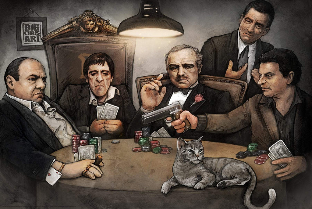 Gangsters Playing Poker Paper Poster