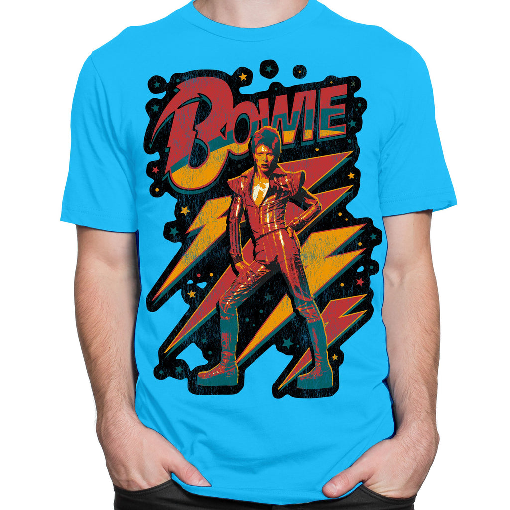 David Bowie Strike a Pose Turquoise T-Shirt