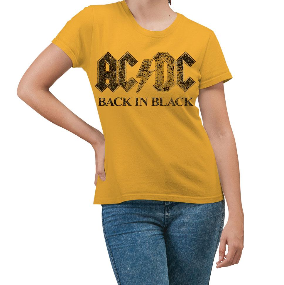 AC/DC Back In Black T-Shirt Yellow Women's