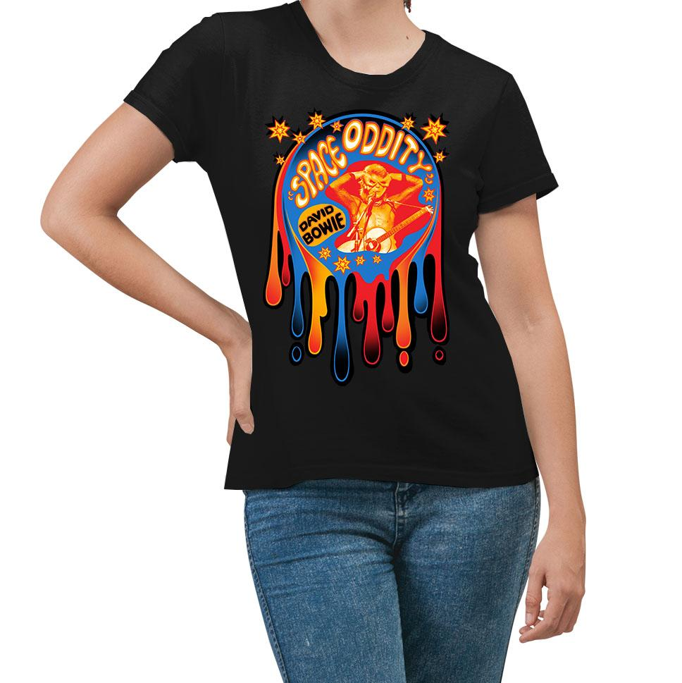 David Bowie Dripping Space Oddity Black Women's T-Shirt