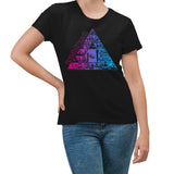 Pink Floyd Pyramid Pink & Blue Black Women's T-Shirt