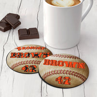 Set Of 4 Neoprene Coasters - Custom Baseball Design