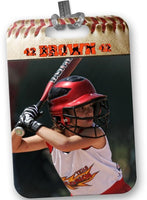 Custom Personalized Baseball Photo Bag Tag - 2-Sided - Ball and Glove Design - Rectangle - Multiple Font Colors
