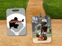 Customized Baseball Player Positions Bag Tag - 2-Sided - Rectangle - Right and Left Handed Available for Most Positions