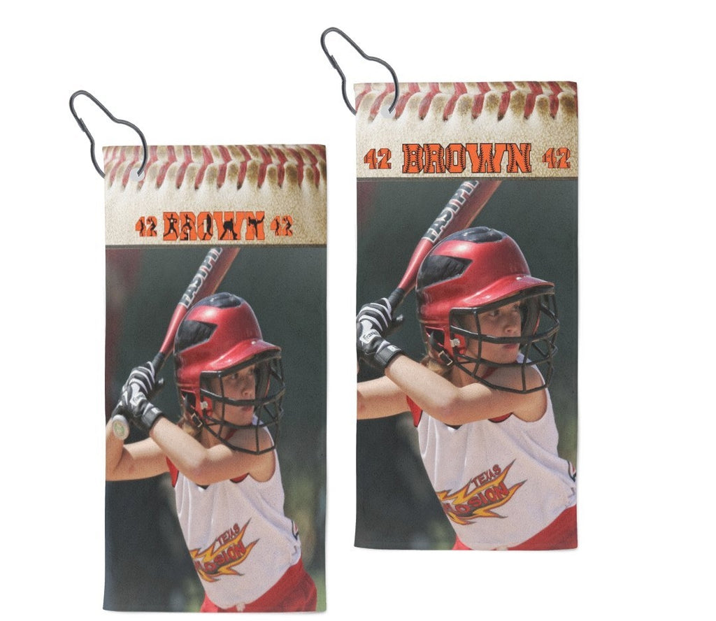 Personalized Photo Baseball Towel With Clip
