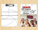 Volleyball Clipboard For Coach - Coach Gift, Add Name, Select Colors - Dry Erase Board