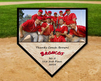 Personalized Baseball Coach Gift - Photo Home Plate Plaque - Select Team Colors