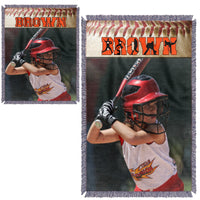 Personalized Photo Baseball Blanket - Several Color/Design Choices