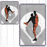 Personalized Baseball Throw Blanket - Player Position