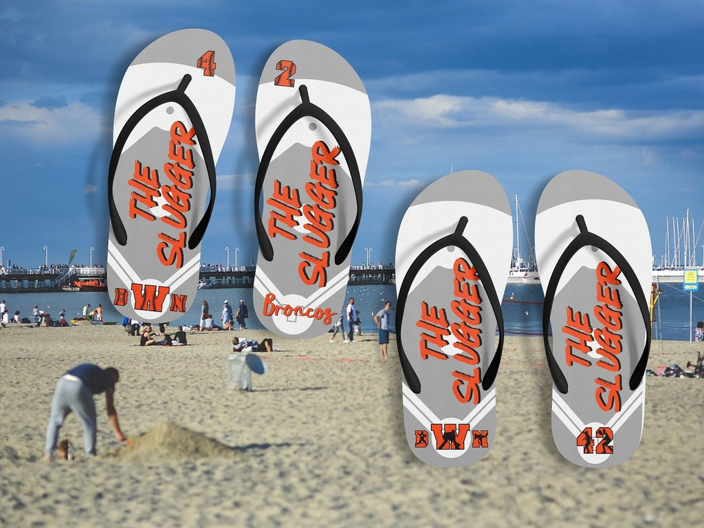 Custom Personalized Baseball Flip Flops