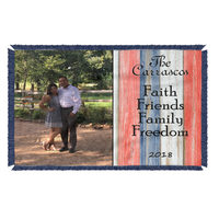 Faith Friends Family Freedom Blanket - Personalized - All-American Throw - Patriotic Blanket - Select Back and Fringe Color