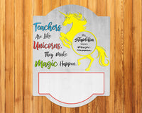 Teacher Appreciation Gift - Personalized Teacher Dry Erase Sign - Unicorn Design