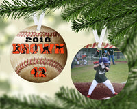 Baseball Ornament, Personalized - Round