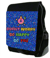 Large Personalized Backpack - Monogrammed - Custom Colors -Donut Worry Be Happy Be You - Durable Canvas