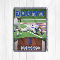 Football Blanket with Photo - Football Player Gift - Football Mom - Football Dad - Custom Options