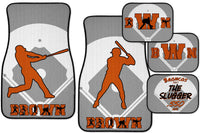 Personalized Baseball Car Floor Mat Set - Select Field Position or Batter and Right or Left Handed