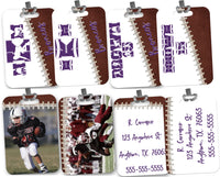 Personalized Custom Football Bag Tag - 2-Sided - Rectangle